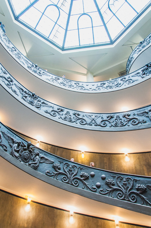 Bramante double helix staircase at the Vatican Museum in Rome, Italy Editorial