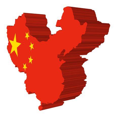 map and flag of china Editöryel