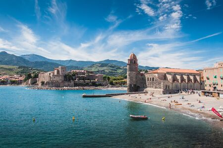 Church of Our Lady of the Angels in Collioure on the shores of the Mediterranean Sea, Pyrenees-Orientales, France Фото со стока
