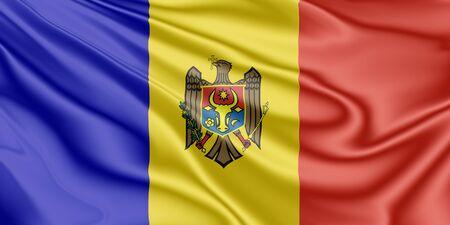 National flag of Moldova fluttering in the wind in 3D illustration Archivio Fotografico
