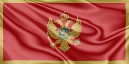 National flag of Montenegro fluttering in the wind in 3D illustration
