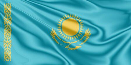 National flag of Kazakhstan fluttering in the wind in 3D illustration Archivio Fotografico