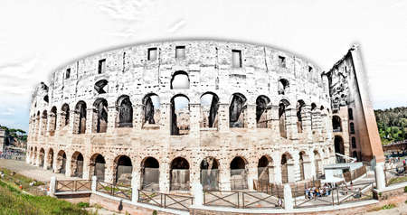 The Colosseum in Rome in Italy, between drawing and reality