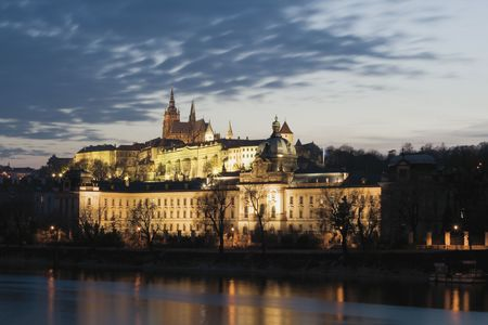 prague castle: Prague, Czech Republic, 2009 - Prague Castle with building of parliament and government in foreground