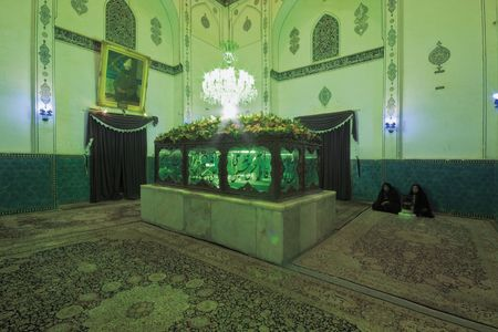 shah: Shah Nematollah Vali Shrine,December 2009: interior. tomb, 2 muslim woman in background