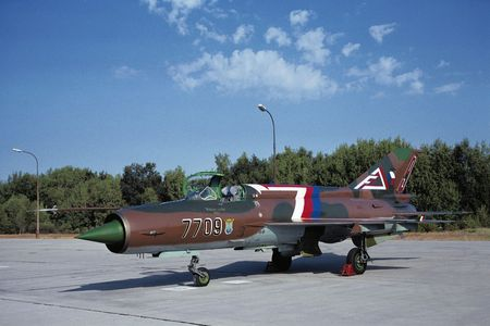ceske: Military Base Ceske Budejovice, Czechoslovakia, 28.8.1992: Mig-21MF shortly before his last run. Few minutes later this airplane was destroyed during training  flight. Pilot Lt-Col Moutvicka died. Editorial