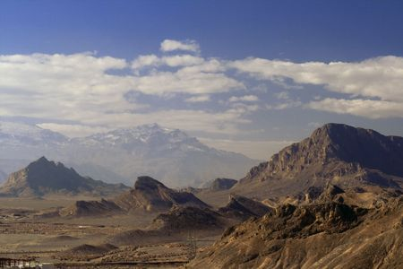 View from Tower of Silence on rock country arround Yazd.