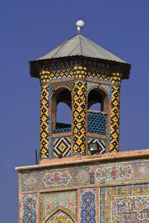 fars: Vakil Mosque, detail of one the minarets on entrance gate, Shiraz, Iran