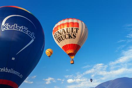 truck: Bela pod Bezdezem, Czech Republic – June 24:  Hot air ballon Kubicek in flight at the show (Belske Balonove Hemzeni) on June 24, 2017 at Bela pod Bezdezem, Czech Republic.