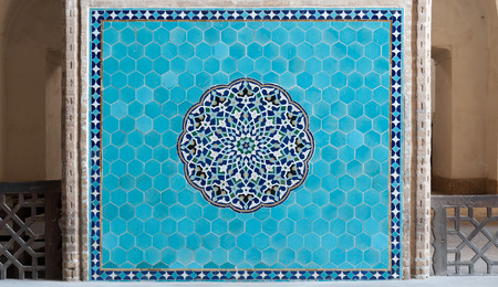 Decoration in the entrance hall of Shia Jame Mosque of Yazd. There are very well visible jewish symbols, six-pointed star among the details of decoration.