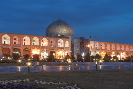 The dome of Sheikh Lotfollah Mosque after Dark. With Naqsh-e Jahan Square, Isfahan, Iran. Stock Photo