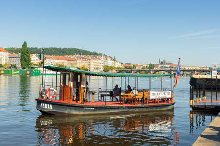 "PRAGUE - August 1st: Ferry ""Semik"" does his sail on August 1st, 2020 in Prague. Semik connects riverbanks Naplavka Podskali with Naplavka Smichov."