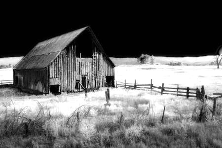 barn black and white: Farm house