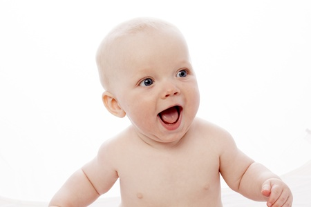 smiling baby with white background photo