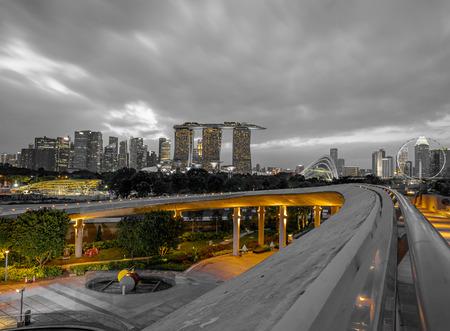 Singapore Waterfront Skyline Editorial