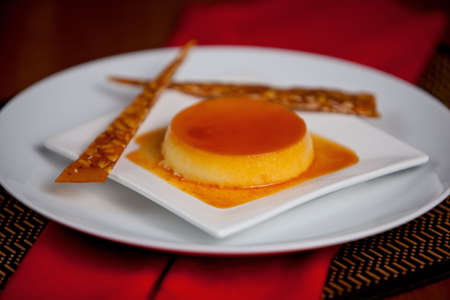 flan with noughatine strips