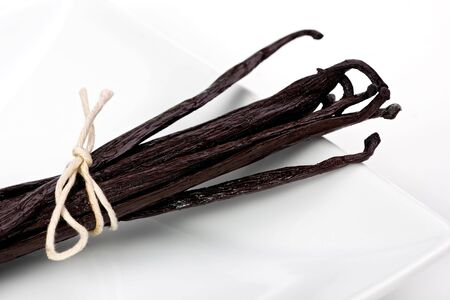 Madagascar-Bourbon vanilla beans tied with string on white plate.