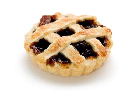 Single mince tart on white background. Stock Photo