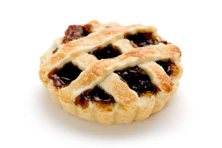 mincemeat: Single mince tart on white background. Stock Photo