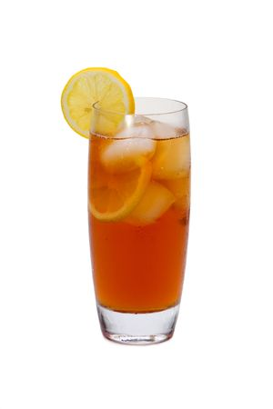 iced tea: Iced tea with lemon slices on white background