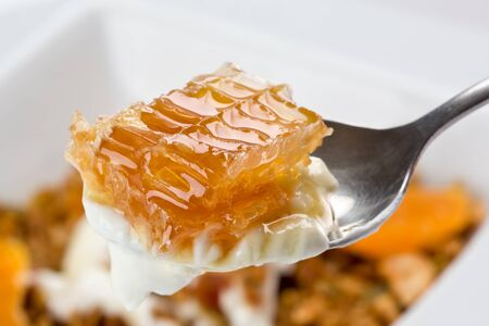 cuiller�e: Spoonful of greek style yogurt with honeycomb.