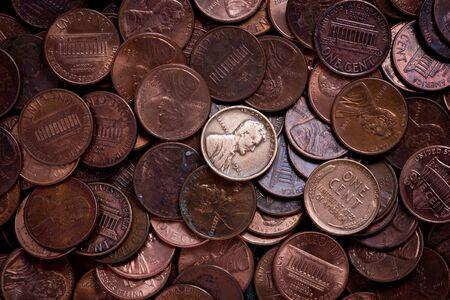 pennies: Pile of pennies.
