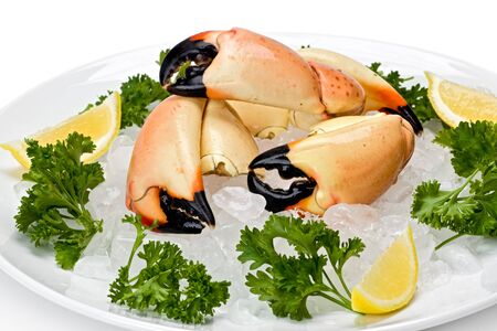 Florida stone crab claws on a bed of ice with lemon slices, and garnished with parsley. Stock Photo