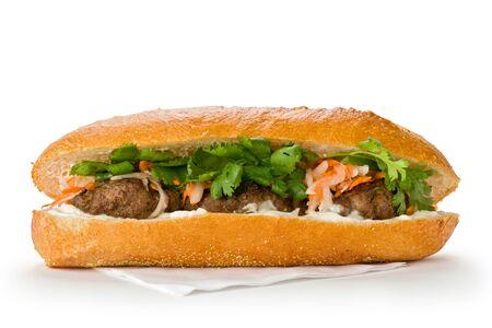sandwich bread: Vietnamese sandwich, or Ban Mi on  a white background.