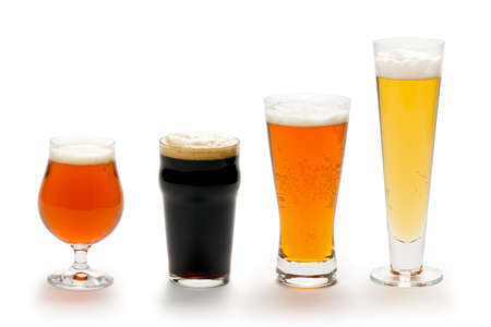 Composite of four beers in different styles of glasses.