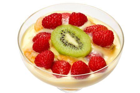 margarita glass: Trifle with fresh strawberries, raspberries, and kiwi fruit in a margarita glass. Stock Photo
