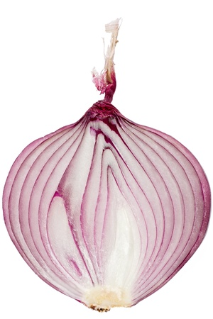 Single sliced red onion against a white background. Imagens