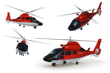 rescue helicopter: Composite renders of a detailed 3D model of a rescue helicopter against white background.