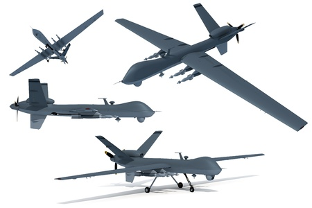 Composite renders of a 3D model of an unmanned aerial vehicle, or drone.