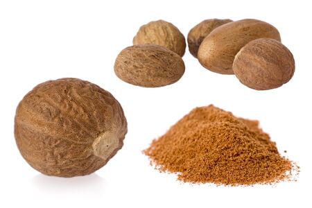 Composite of nutmeg seeds and and ground nutmeg on white background.