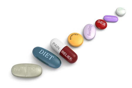 nutrition health: An assortment of pills with various inscriptions and colors.