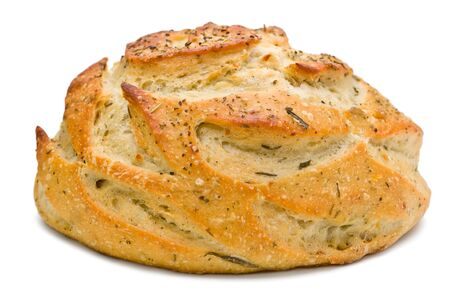 A loaf of rosemary bread against a white background.