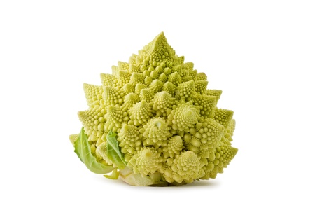Whole romanesco broccoli, or roman cauliflower, against a white background.