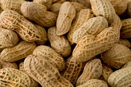 Background texture of whole unshelled sun-dried peanuts.