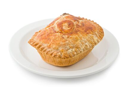 Traditional British steak and Kidney pie on a white plate against a white background.