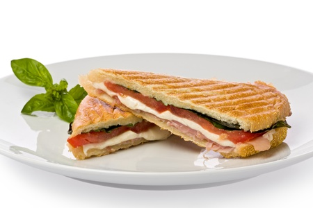 Panini sandwich with prosciutto, mozzarella cheese and basil on white plate.