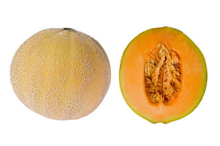 Composite of a whole and sliced cantelope against a white background.