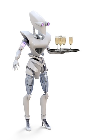 3d render of a robot serving glasses of champagne.