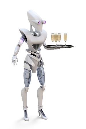 3d render of a robot serving glasses of champagne. Banco de Imagens - 13809967