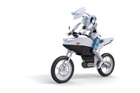 Robot riding electric motorcycle against a white background.
