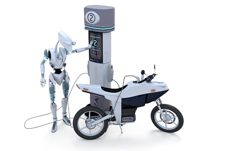 Robot charging self and electric motorcycle at charging station against a white background. Stock Photo - 14159670