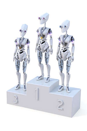 Three robots standing on a podium with a medal around their necks. One robot has a gold, one a sliver, and one a bronze medal. photo