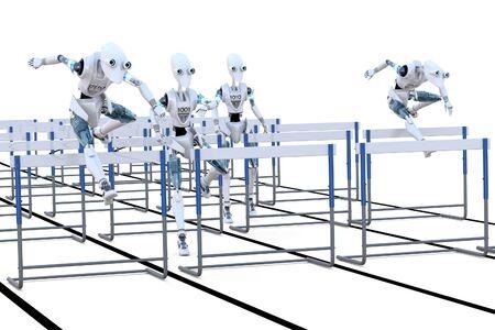 hurdles: Several robots competing in a hurdles race. Stock Photo
