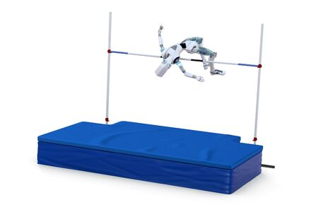 Robot competing in the high jump against a white background. Stock Photo