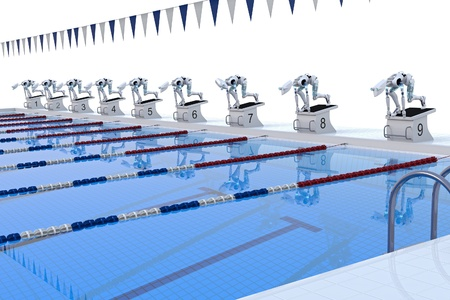 meet: Several robots preparing to compete in swimming race.