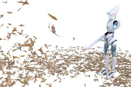 Robot using a leaf blower on a pile of leaves.